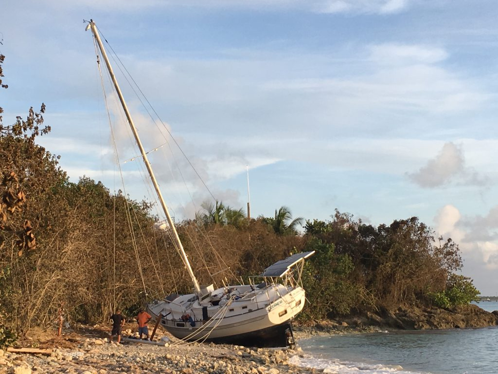 Boat Washed Up on Rainbow Beach West Shore