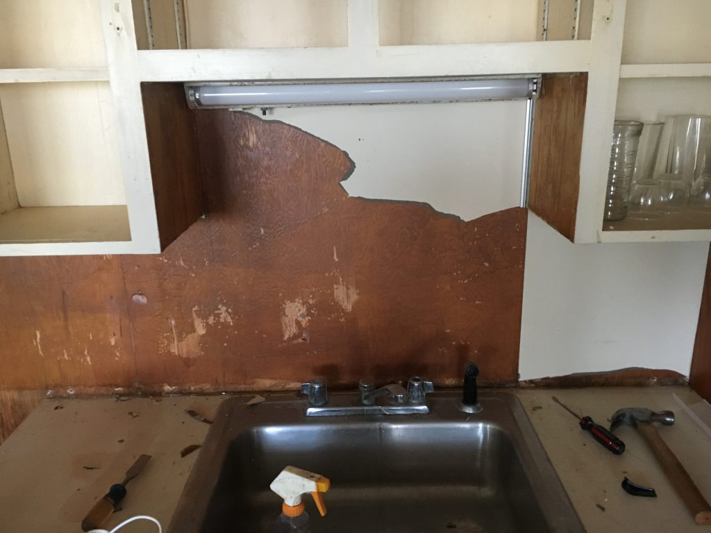Ripping Out Old Sinks, Backsplash, and Cabinets