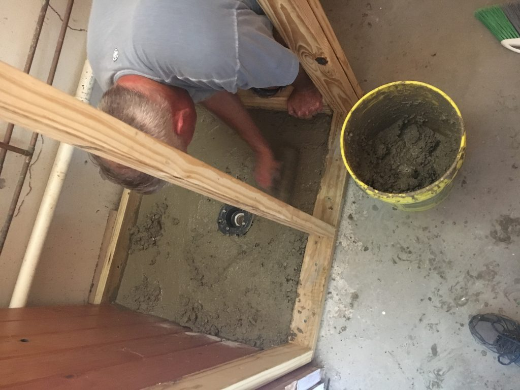 Installing the Shower Concrete