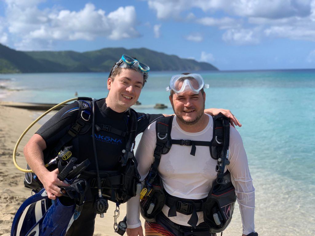 KC and Sebastian on Their First Scuba Dive