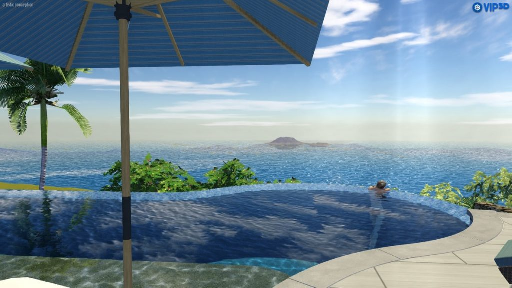 View from infinity Edge Pool Looking at Buck Island