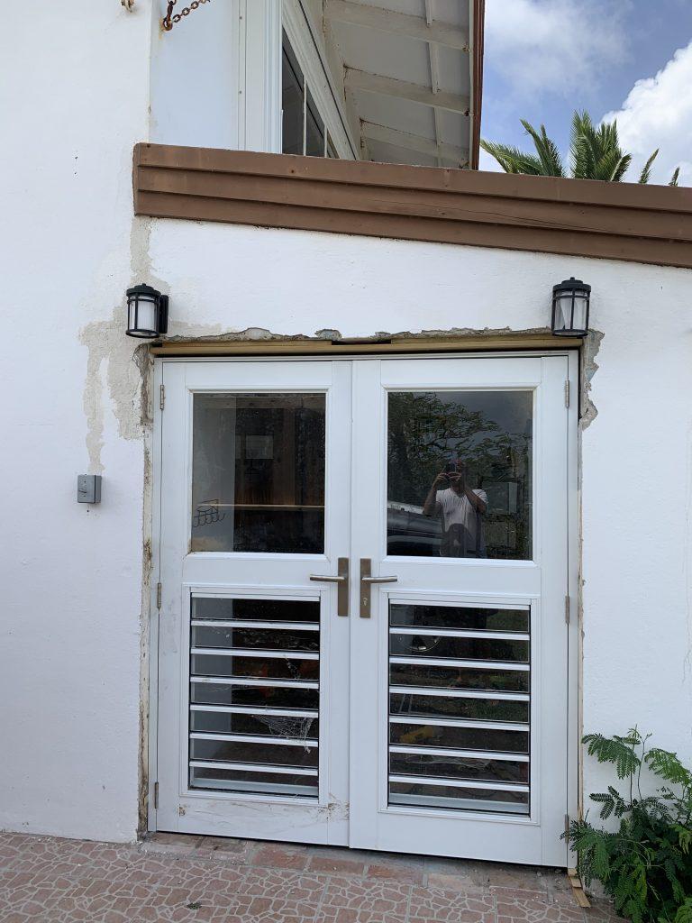 French Doors Installed! Needs Plaster Work